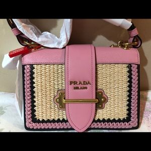 Prada Cahier in pink straw and leather